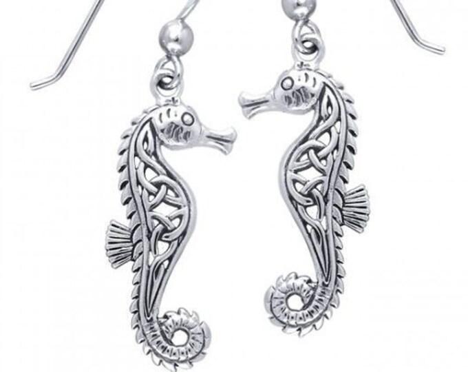 Seahorse Earrings, Celtic Jewelry, Mom Gift, Anniversary Gift, Nautical Jewelry, Sister Gift, Girlfriend Gift, Beach Jewelry, Ocean Jewelry