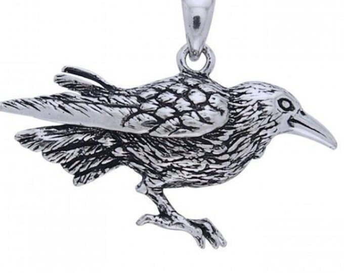 Raven Celtic Necklace, Wiccan Jewelry, Crow Pendant, Black Bird Pendant, Bird Jewelry, Pagan Jewelry, Nature Lover, Poe Jewelry, Gothic