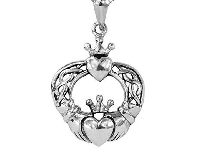 Claddagh Necklace, Celtic Jewelry, Heart Pendant, Ireland Jewelry, Gift for Her, Anniversary Gift, Best Friend Gift, Girlfriend, Mother