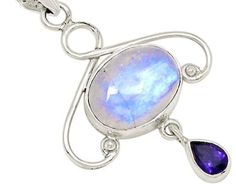 Moon Necklace, Moonstone Pendant, Celestial Jewelry, Celtic Jewelry, Anniversary Gift, Wiccan Jewelry, Pagan Necklace, Girlfriend Gift