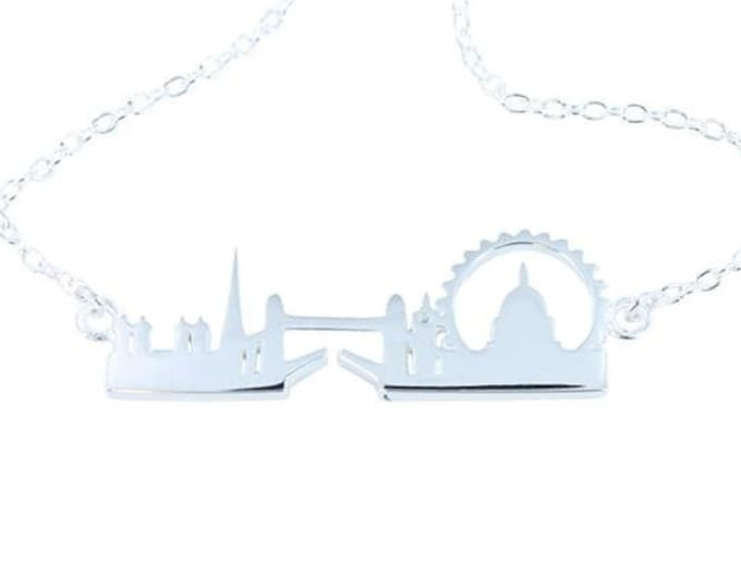 London Skyline Necklace, England, Cityscape, Unique Necklace, Vacation, Travel, Gift for Her, London Bridge, Mother