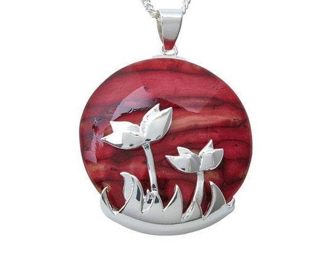 Celtic Flower Necklace, Scotland Jewelry, Heather Gem, Celtic Jewelry, Wiccan Jewelry, Boho Necklace, Flower Jewelry, Nature Necklace