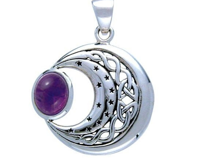 Moon Necklace, Celtic Jewelry, Wiccan Jewelry, Amethyst Necklace, Crescent Moon, Moon Pendant, Anniversary Gift, Celestial Jewelry