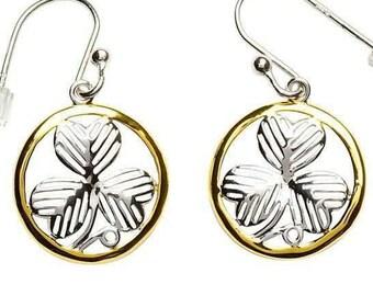 "Sterling Silver ""Shimmer Shamrock"" Celtic Earrings, Ireland Jewelry, Celtic Wedding, Gift for Her, Ireland Earrings, Wife, Mother, Sister"