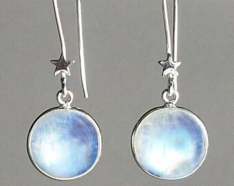 Moon Earrings, Celtic Jewelry, Wiccan Jewelry, Moonstone Jewelry, Full Moon Jewelry, Moon Pendant, Anniversary Gift, Celestial Jewelry