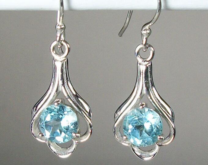 Celtic Flower Earrings, Celtic Jewelry, Blue Topaz Jewelry, Wiccan Jewelry, Norse Jewelry, Irish Jewelry, Scotland Jewelry, Gift for Her