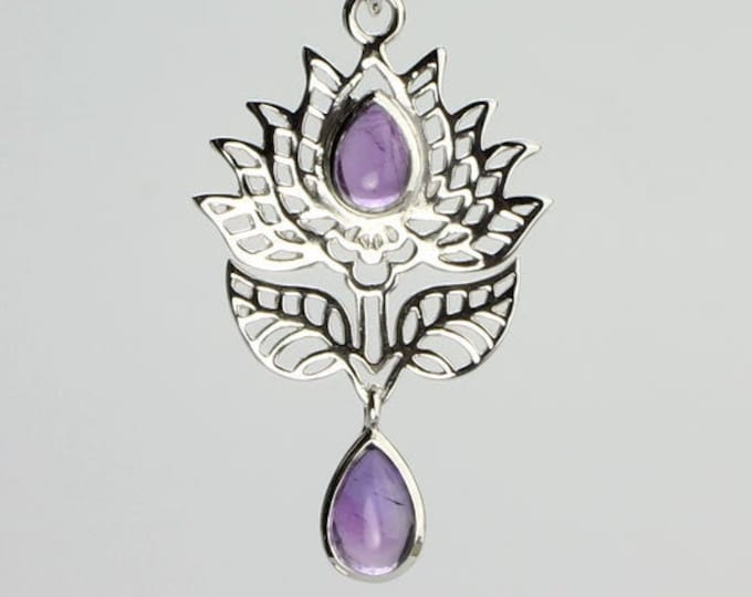 Lotus Necklace, Celtic Jewelry, Amethyst Jewelry, Wiccan Jewelry, Lotus Jewelry, Flower Jewelry, Celtic Knot Jewelry, Wife Gift, Mom Gift