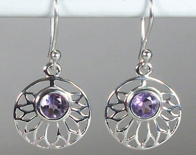 Celtic Flower Earrings, Celtic Jewelry, Amethyst Jewelry, Wiccan Jewelry, Norse Jewelry, Irish Jewelry, Scotland Jewelry, Gift for Her