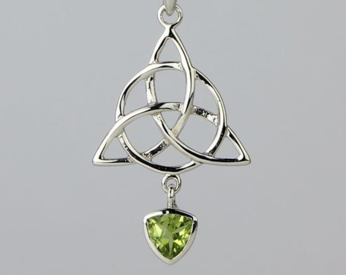 Trinity Knot Necklace, Celtic Jewelry, Irish Jewelry, Triskele, Celtic Knot Jewelry, Peridot Jewelry, Scotland Jewelry, Wiccan Jewelry