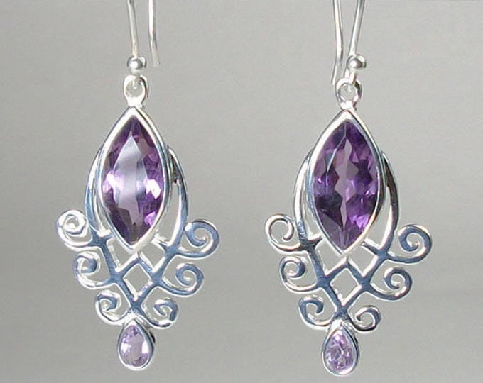 Celtic Goddess Earrings, Celtic Jewelry, Amethyst Jewelry, Wiccan Jewelry, Norse Jewelry, Irish Jewelry, Scotland Jewelry, Gift for Her