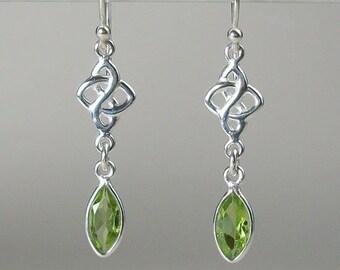 Celtic Knot Earrings, Celtic Jewelry, Irish Jewelry, Peridot Jewelry, Wiccan Jewelry, Gemstone Earrings, Anniversary Gift, Celestial Jewelry