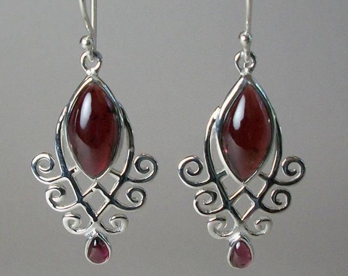 Celtic Goddess Earrings, Celtic Jewelry, Garnet Jewelry, Wiccan Jewelry, Norse Jewelry, Irish Jewelry, Scotland Jewelry, Gift for Her
