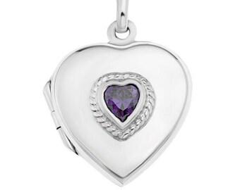 Heart Locket Necklace, Heart Pendant, Celtic Jewelry, Anniversary Gift, Bridal Jewelry, Amethyst Jewelry, Locket Necklace, Mom Gift