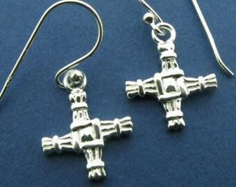 Ireland's Saint Bridget's Cross Sterling Silver Earrings, Irish Cross, Easter Gift, Gift for Her, Irish Bride, Mother's Day, St. Bridget
