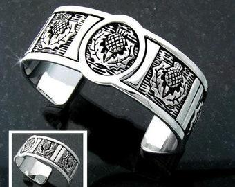 Thistle Bracelet, Celtic Jewelry, Celtic Bangle Bracelet, Nature Jewelry, Scotland Jewelry, Wife Gift, Girlfriend Gift, Sister Gift