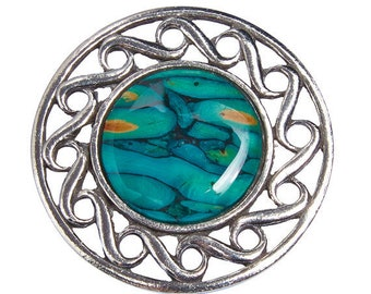 Scotland Heather Brooch, Celtic Jewelry, Norse Jewelry, Tartan Pin, Scotland Jewelry, Celtic Knot Pin, Heather Gem, Nature Jewelry, Wiccan