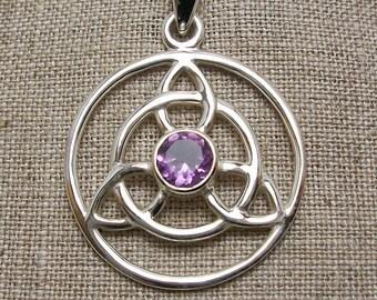 Trinity Knot Necklace, Celtic Jewelry, Irish Jewelry, Triquetra, Celtic Knot Jewelry, Garnet Jewelry, Scotland Jewelry, Wiccan Jewelry