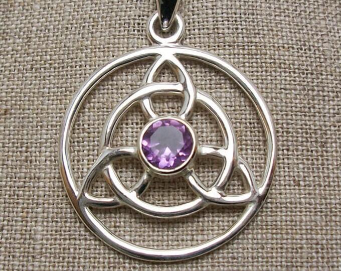 Trinity Knot Necklace, Celtic Jewelry, Irish Jewelry, Triskele, Celtic Knot Jewelry, Garnet Jewelry, Scotland Jewelry, Wiccan Jewelry