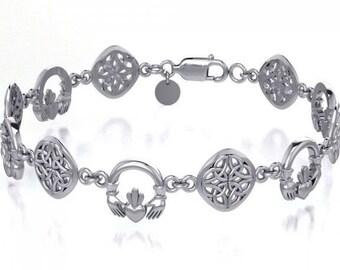 Claddagh Celtic Knot Bracelet, Love Knot Jewelry, Celtic Jewelry, Irish Jewelry, Outlander Gift, Wife Gift, Girlfriend Gift, Heart Jewelry