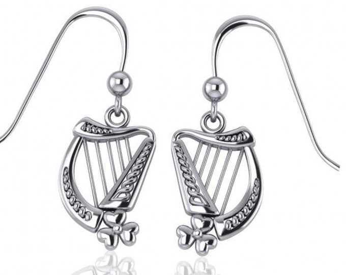 Harp Earrings, Celtic Jewelry, Ireland Jewelry, Saint Patrick's Day, Gift for Her, Mom Gift, Girlfriend Gift, Clover Jewelry, Shamrock Gift
