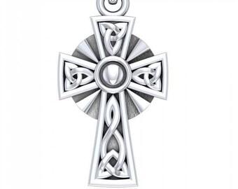 Trinity Knot Celtic Cross Necklace, Irish Cross, First Communion, Wedding, New Bride, Christening, Saint Patrick's Day, Anniversary, Baby