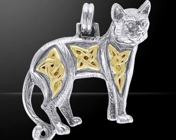 Majestic Goddess Celtic Cat Sterling Silver Necklace