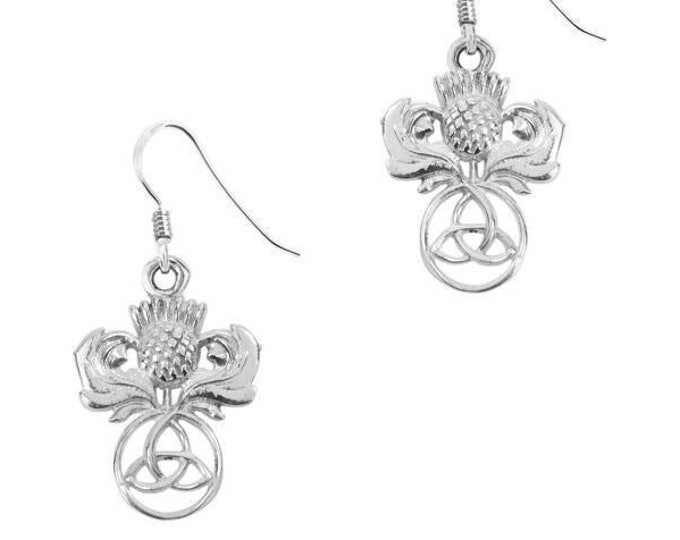 Thistle Earrings, Celtic Jewelry, Scotland Jewelry, Outlander Jewelry, Wiccan Jewelry, Mom Gift, Girlfriend Gift, Wife Gift, Trinity Knot