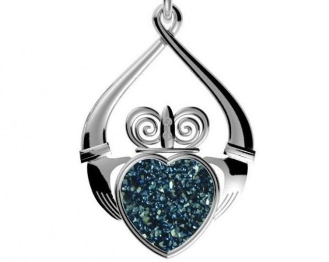 Artisan Claddagh Necklace, Celtic Jewelry, Druzy Jewelry, Ireland Jewelry, Heart Pendant, Wife Gift, Mom Gift, Girlfriend Gift, Anniversary