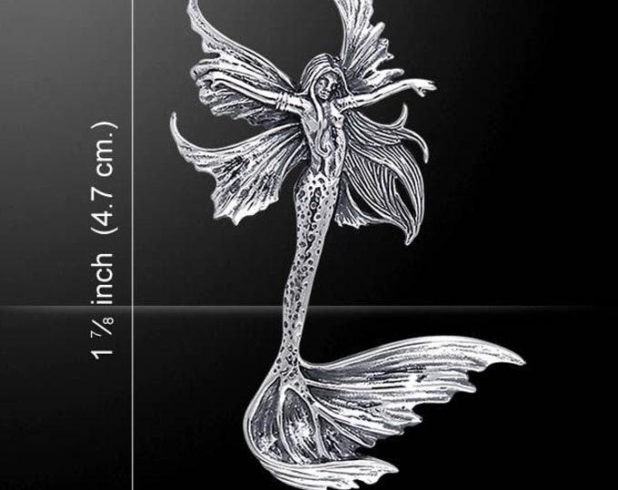 Mermaid Necklace, Nautical Jewelry, Beach Jewelry, Anniversary Gift, Ocean Jewelry, Fairy Jewelry, Inspirational Gift, Mermaid Pendant