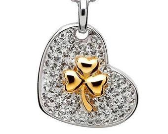 Shamrock Necklace, Irish Jewelry, Celtic Jewelry, Clover Jewelry, Heart Jewelry, Bridal Jewelry, Mom Gift, Girlfriend Gift, Irish Dance Gift