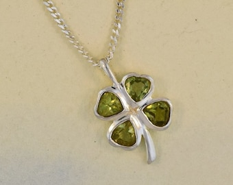 Shamrock Necklace, Clover Jewelry, Irish Jewelry, Peridot Necklace, Anniversary Gift, Good Luck Jewelry, Friendship Gift, Celtic Necklace