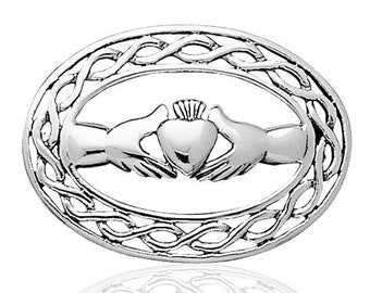 Sterling Silver Celtic Weave Claddagh Brooch