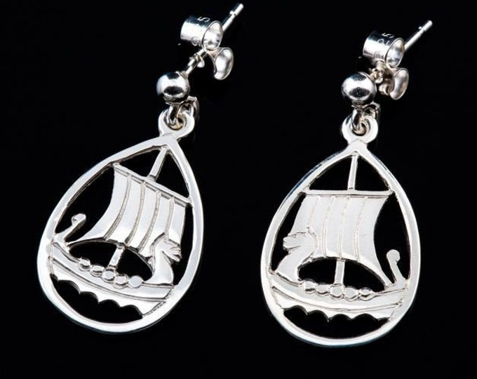 Viking Ship Earrings, Norse Jewelry, Viking Jewelry, Nordic Jewelry, Celtic Jewelry, Nautical Jewelry, Anniversary Gift, Pagan Jewelry