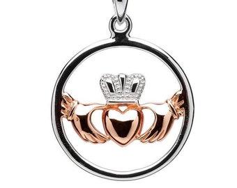 Claddagh Necklace, Irish Jewelry, Celtic Jewelry, Heart Jewelry, Rose Gold, Anniversary Gift, Girlfriend Gift, Wife Gift, Bridal Jewelry