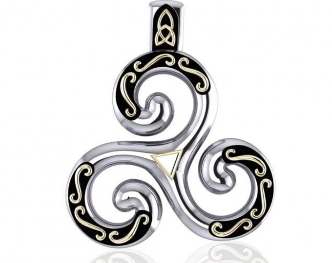 Gentle Goddess Celtic Triskele Sterling Silver Necklace