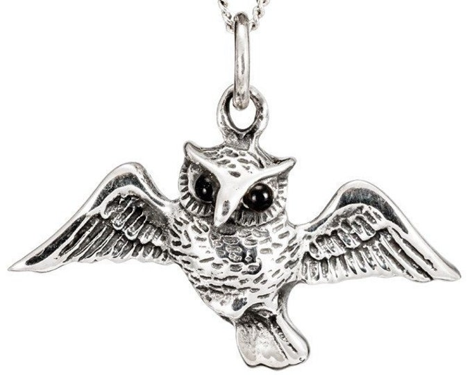 Owl Sterling Silver Necklace, Nature Jewelry, Bird Lover Necklace, Woodland Jewelry, Forest Jewelry, Wiccan Jewelry