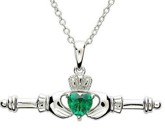 Claddagh Necklace, Irish Jewelry, Heart Pendant, Mother's Day Gift, Anniversary, Gift for Her, Birthday, Friendship Gift, Graduation Gift