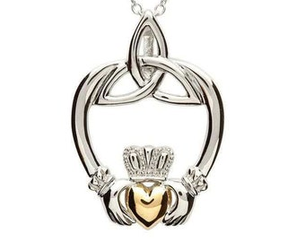 Claddagh Necklace, Celtic Jewelry, Irish Jewelry, Heart Pendant, Mom Gift, Anniversary Gift, Best Friend Gift, Girlfriend Gift, Wife Gift