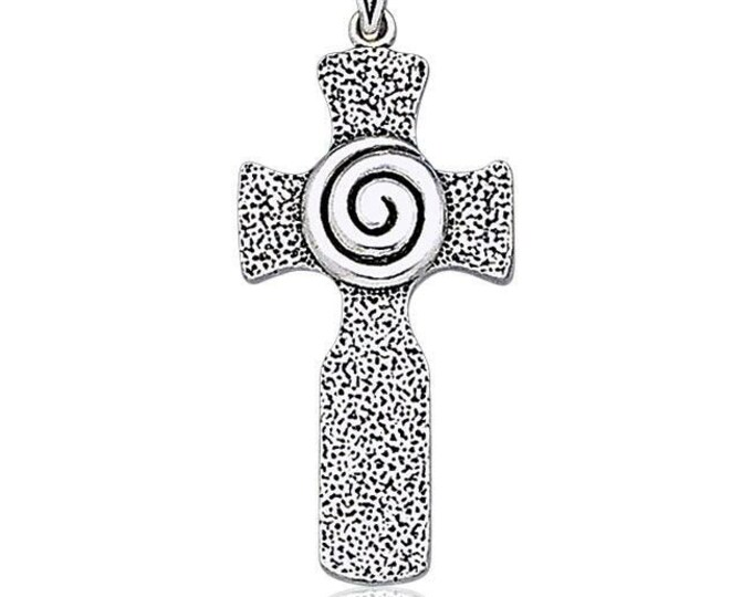 Celtic Cross Necklace, Irish Cross, Triple Spiral Jewelry, Celtic Cross, First Communion, Confirmation Cross, Religious Jewelry