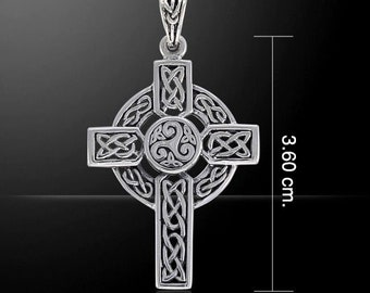 Celtic Cross Necklace, Irish Cross, Triple Spiral Jewelry, Celtic Cross, First Communion Gift, Confirmation Cross, Religious Jewelry