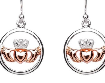 Classy Sterling Silver Rose Gold Claddagh Celtic Earrings, Girlfriend, Wife, Mother, Valentine's Day, Wedding Gift, Engagement, Heart, Crown