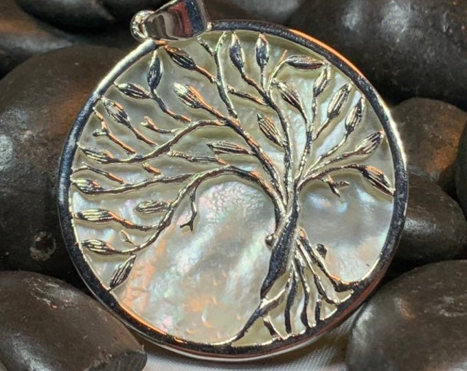 Tree of Life Necklace, Celtic Jewelry, Nature Necklace, Yoga Jewelry, Wiccan Jewelry, Wedding Jewelry, Anniversary Gift, Shell Pendant