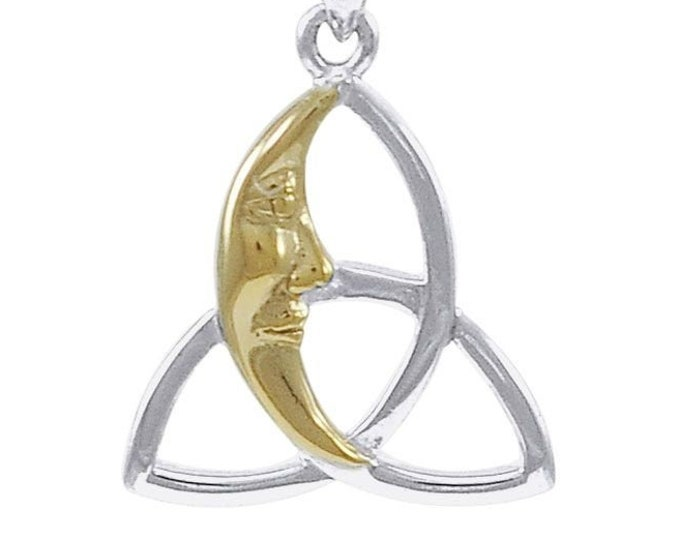 Trinity Knot Necklace, Moon Necklace, Triquetra Pendant, Celtic Jewelry, Anniversary Gift, Wiccan Jewelry, Pagan Necklace, Celestial Jewelry
