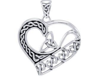 Love Knot Celtic Necklace, Celtic Jewelry, Heart Jewelry, Trinity Knot Necklace, Irish Jewelry, Bridal Jewelry, Celtic Knot, Wiccan Jewelry