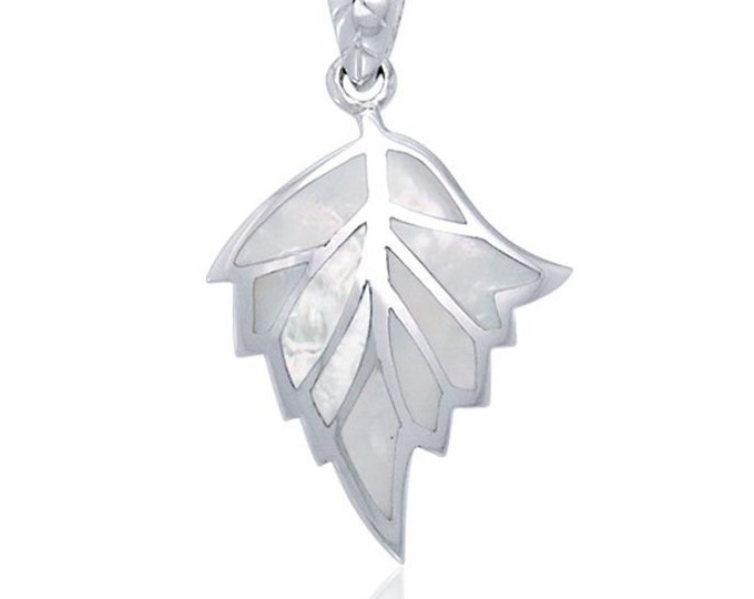Mother of Pearl New Beginning Leaf Celtic Necklace