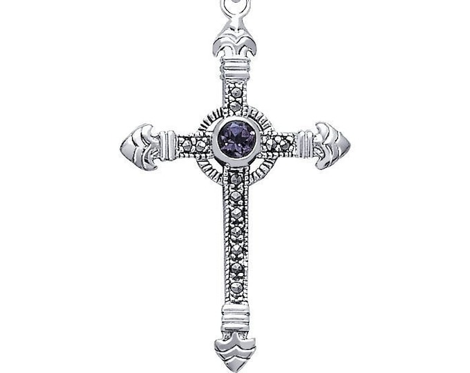 Celtic Cross Necklace, Irish Cross, First Communion Cross, Cross Necklace, Marcasite Jewelry, Bride Cross, Bridal Jewelry, Religious Jewelry