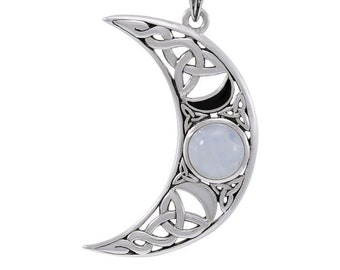Moon Necklace, Celtic Jewelry, Wiccan Jewelry, Moonstone Jewelry, Crescent Moon, Moon Goddess, Anniversary Gift, Celestial Jewelry