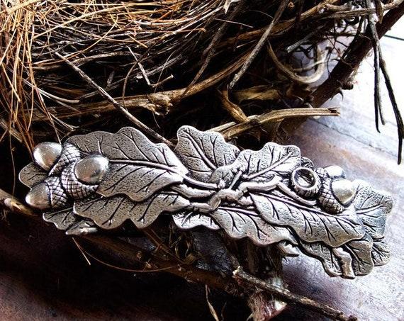 Oak Leaf Hair Clip, Celtic Barrette, Tree Jewelry, Pagan Jewelry, Friendship Gift, Wiccan Jewelry, Acorn Jewelry, Nature Barrette, Oak Tree