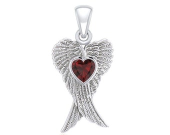 Angel Wings Necklace, Celtic Jewelry, Spiritual Jewelry, Anniversary Gift, Wings Jewelry, Bridal Jewelry, Heart Jewelry, Survivor Gift