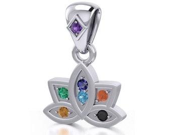Rainbow Necklace, Lotus Necklace, Chakra Jewelry, Yoga Jewelry, Memorial Jewelry, Inspirational Jewelry, Rainbow Jewelry, Anniversary Gift